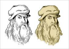 Leonardo da Vinci. Drawing illustration scientist and artist Leonardo da Vinci Stock Illustration
