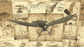 Leonardo Da Vinci Antique Flying Machine-Animatie stock illustratie