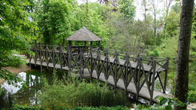 Leonardo da Vinci bridge at Clos Luce in Amboise. Leonardo da Vinci created the double deck bridge exposed at castle of Clos Luce in Amboise in France royalty free stock photos