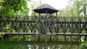 Leonardo da Vinci bro på Clos Luce i Amboise royaltyfria bilder