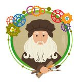 Leonardo Da Vinci Cartoon. Cute cartoon of Leonardo Da Vinci holding brushes, pencil and a ruler. With a green circled frame and colorful gears around him. Eps10 Royalty Free Stock Image