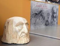 Leonardo da Vinci. Entrance to the exhibition of the inventions designed by Leonardo Da Vinci Stock Photos