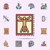 Leonardo da Vinci, famoso, icona dell'uomo Insieme universale di storia per progettazione del sito Web e sviluppo, sviluppo del a royalty illustrazione gratis