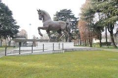 Leonardo Da Vinci häst milan, milano, expo2015 Royaltyfri Foto