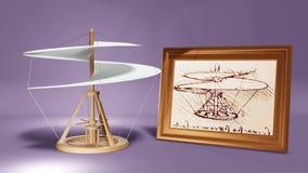 Leonardo Da Vinci Helicopter com o esboço ilustração stock