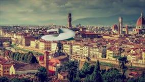 Leonardo Da Vinci Helicopter está voando em Florença ilustração stock