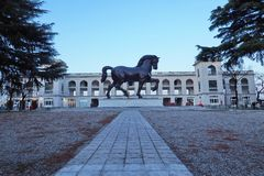 Leonardo da Vinci Horse statue in Milan, Italy. Leonardo da Vinci Horse statue in Milan, old Hippodrome, Italy royalty free stock image