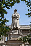 Leonardo Da Vinci memorial. Leonardo Da Vinci statue monument in the city of Milan Stock Image