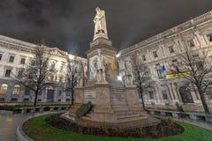Leonardo da Vinci - MIlan, Italy. Statue of Leonardo da Vinci in Milan, Italy at night stock photography