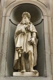 Leonardo da Vinci monument in Florence, Italy. View at Leonardo da Vinci monument in Florence, Italy royalty free stock image