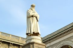 Leonardo da Vinci monument in Milan. Stock Photography
