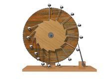 Perpetuum mobile. Leonardo da Vinci`s perpetual motion machine. Leonardo da Vinci`s perpetual motion machine. 3D illustration isolated on a white background stock photography