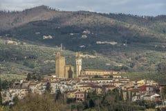 Leonardo da Vinci`s town in Tuscany Italy. Landscape of Vinci town in Tuscany, Italy, place of birth of Leonardo da Vinci stock image