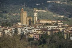 Leonardo da Vinci`s town in Tuscany Italy stock photo