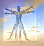 Leonardo Da Vinci's Vitruvian Man, Homo Quadratus over sky. Leonardo Da Vinci's Vitruvian Man, Homo Quadratus, 3d rendering, reflecting, glossy material on sky Royalty Free Stock Photos