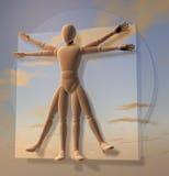 Leonardo Da Vinci's Vitruvian Man, Homo Quadratus over sky. Leonardo Da Vinci's Vitruvian Man, Homo Quadratus, 3d rendering, velvety material on sky background Stock Photos