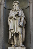Leonardo da Vinci statue in Florence. View at Leonardo da Vinci statue in Florence, Italy royalty free stock images