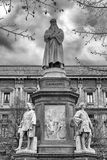 Leonardo da Vinci statue in Milan, Italy. Statue of Leonardo da Vinci in Piazza dellla Scala, Milan - Italy royalty free stock images