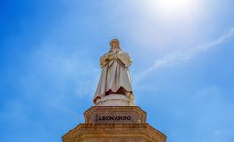 Leonardo da Vinci Statue in Milan, Scala Square, Milan, Italy. stock photos