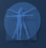 Leonardo Da Vinci Vetruvian Man, homo Quadratus representado en una rejilla de los pequeños cubos azules, voxels, estilo digital Fotografía de archivo