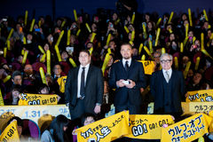 Leonardo DiCaprio, Hill του Jonah, και James Martin Scorsese Στοκ εικόνες με δικαίωμα ελεύθερης χρήσης