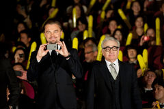 Leonardo DiCaprio and James Martin Scorsese. January 28, 2014 : Tokyo, Japan - Leonardo DiCaprio and James Martin Scorsese appear at the Japan Premiere for The Royalty Free Stock Photography
