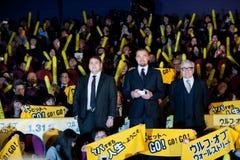 Leonardo DiCaprio, Jonah Hill, en James Martin Scorsese Royalty-vrije Stock Afbeeldingen