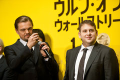 Leonardo DiCaprio and Jonah Hill. January 28, 2014 : Tokyo, Japan - Leonardo DiCaprio and Jonah Hill appear at the Japan Premiere for The Wolf of Wall Street by Royalty Free Stock Image