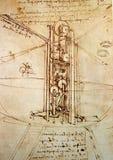 Leonardo s εφαρμοσμένης μηχανικής σχεδίων στοκ φωτογραφίες