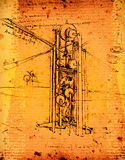 Leonardo's  engineering. Leonardo's Da Vinci engineering drawing Royalty Free Stock Images