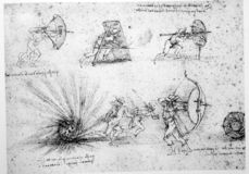 Leonardo's engineering drawing. Leonardo's Da Vinci engineering drawing  from 1503 on textured background Stock Image