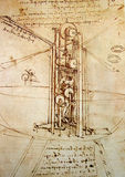Leonardo's engineering drawing. Leonardo's Da Vinci engineering drawing  from 1503 on textured background Stock Photos