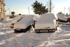 leonards海运多雪的st街道 免版税库存图片