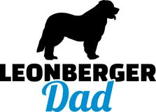 Leonberger dad silhouette. With blue word Stock Photo