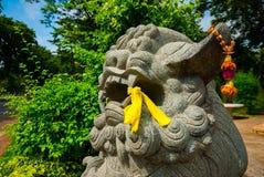Leone cinese del guardiano, cane di Fu, leone di Fu, Lumphini p Immagine Stock