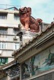 Leone cinese del guardiano. Lin Kai Temple a Macao Fotografia Stock Libera da Diritti