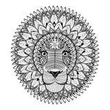 Leone decorato di Zentangle Illustrazione di vettore di schizzo del tatuaggio Fotografia Stock