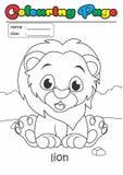 Leone del libro da colorare della pagina di coloritura Adatto facile del grado a bambini Immagine Stock