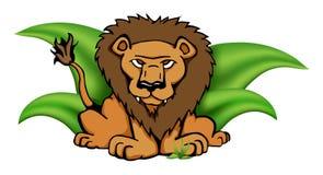 Leone di safari nel vettore dell'erba Immagini Stock