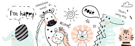 Leone, giraffa, elefante, coccodrillo, zebra, stampa sveglia del bambino della tigre Felice, ruggito, slogan fresco del testo illustrazione vettoriale