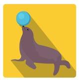 Leone marino con una palla, stile piano dell'icona del circo con le ombre lunghe, isolate su fondo bianco Illustrazione di vettor Immagini Stock