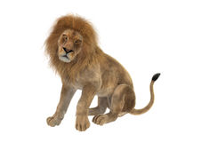 leone maschio della rappresentazione 3D su bianco Immagini Stock Libere da Diritti