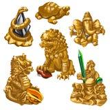 Leone, serpente, Poseidon ed altri simboli di culto royalty illustrazione gratis