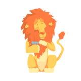 Leone sveglio del fumetto che pettina il suo carattere variopinto della criniera, illustrazione animale di vettore governare illustrazione vettoriale