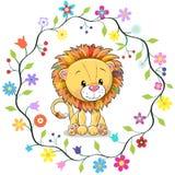 Leone sveglio nel telaio dei fiori royalty illustrazione gratis