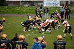 Leones de Bérgamo del fútbol americano contra los rinocerontes de Milano Imagen de archivo libre de regalías