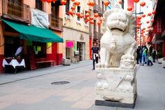 Leones de los guardas en Chinatown en Ciudad de México Imágenes de archivo libres de regalías