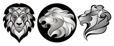 Leones fijados Lion Head Logo Ilustración común del vector Imagenes de archivo