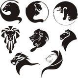 Leones negros estilizados Imagen de archivo