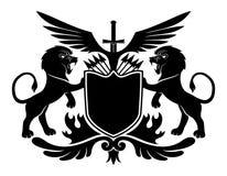 Leones y escudo ilustración del vector